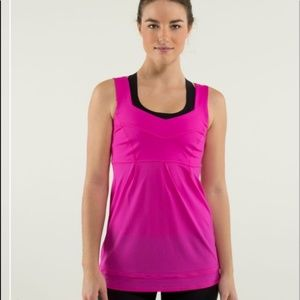 LULULEMON hot pink cinch bottom workout tank sz 6